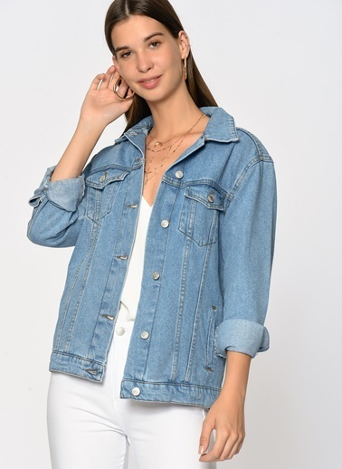 Loves You Koyu Yıkama Jean Ceket Mavi